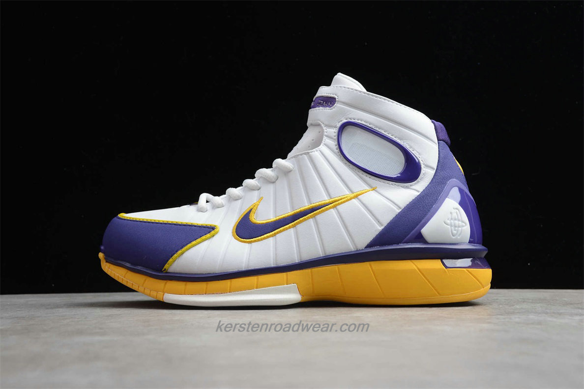 Nike Air Zoom Huarache 2K4 308475 008 Men's White / Purple / Yellow Basketball Shoes