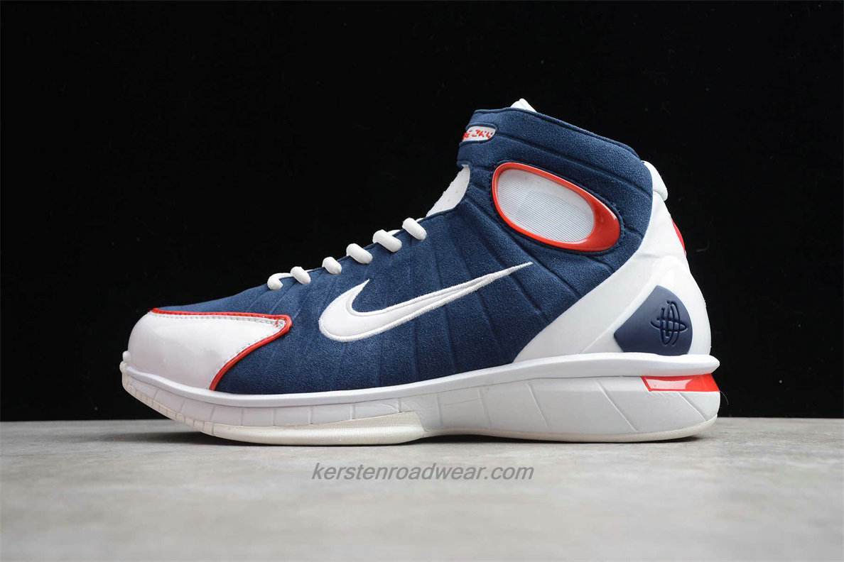 Nike Air Zoom Huarache 2K4 308475 400 Men's White / Navy Blue / Red Basketball Shoes