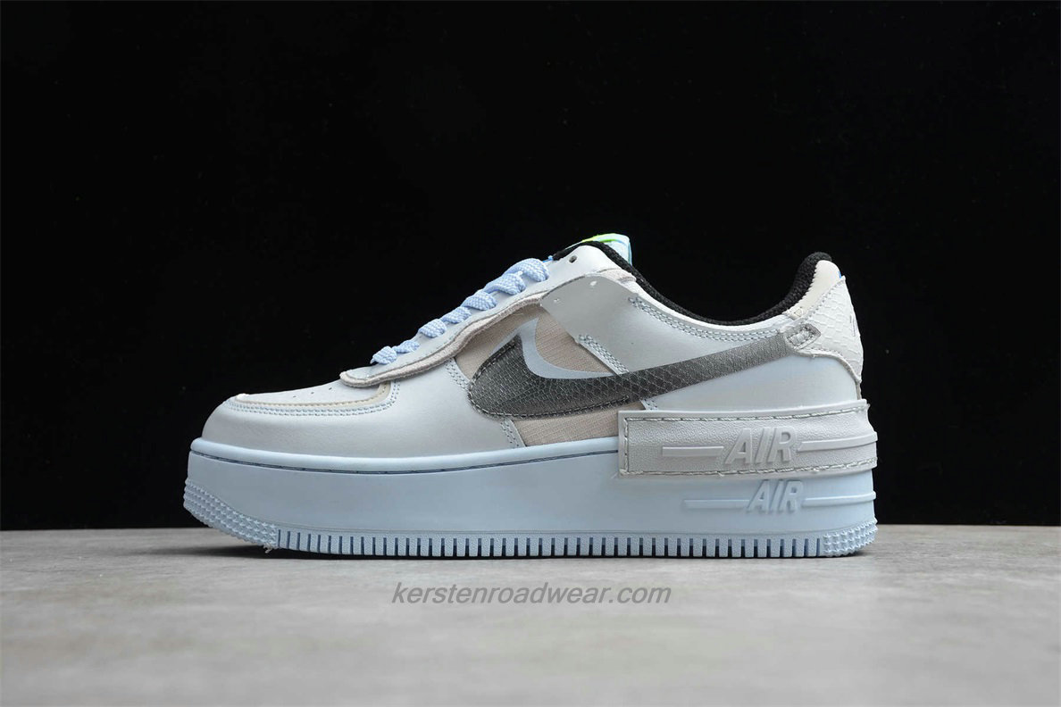 Nike Air Force 1 SHADOW SE CV3027 001 Men's Grey / Light Blue Casual Shoes