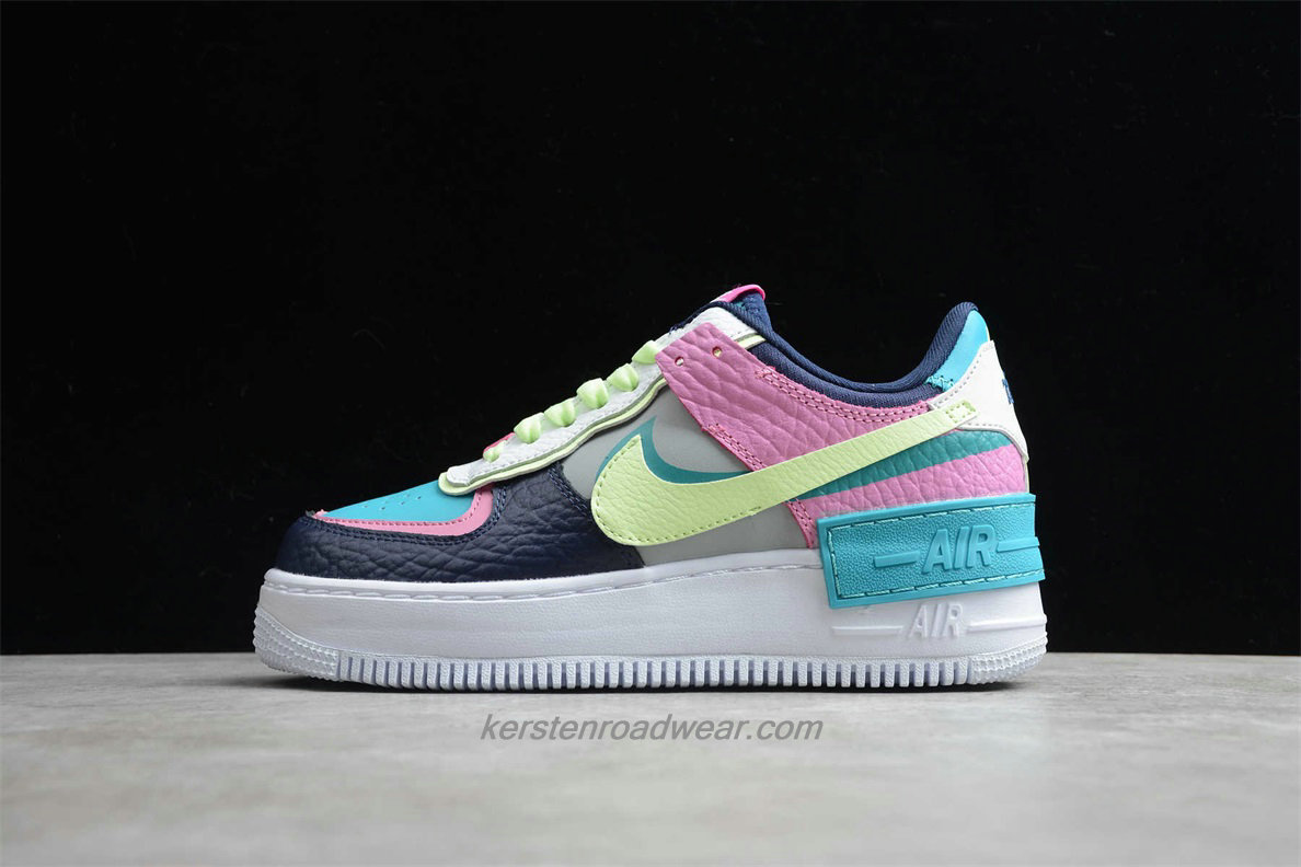 Nike Air Force 1 SHADOW SE CK3172 001 Women's Blue / Pink / Green / White Casual Shoes