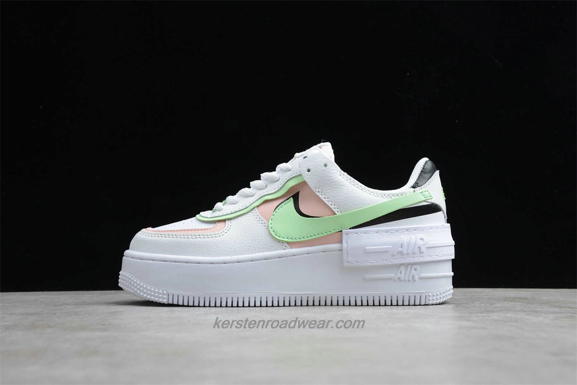 Nike Air Force 1 SHADOW CI0919 130 Women's White / Pink / Green Casual Shoes