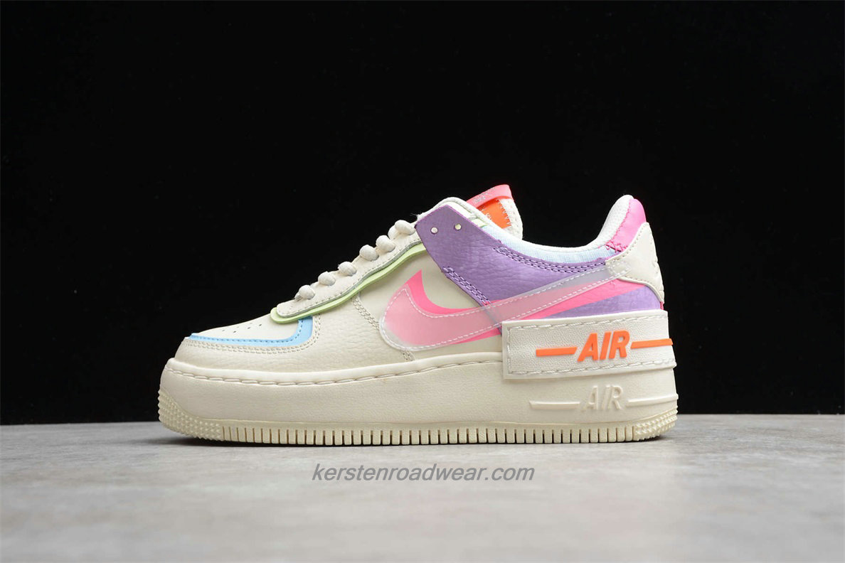 Nike Air Force 1 SHADOW CU3012 164 Women's Beige / Purple / Pink Casual Shoes
