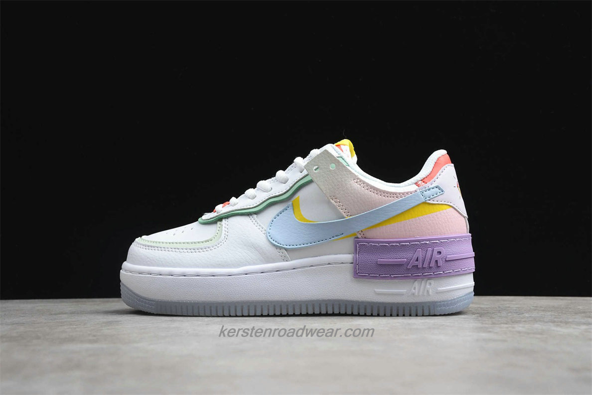 Nike Air Force 1 SHADOW CW2630 141 Women's White / Blue / Purple / Pink Casual Shoes