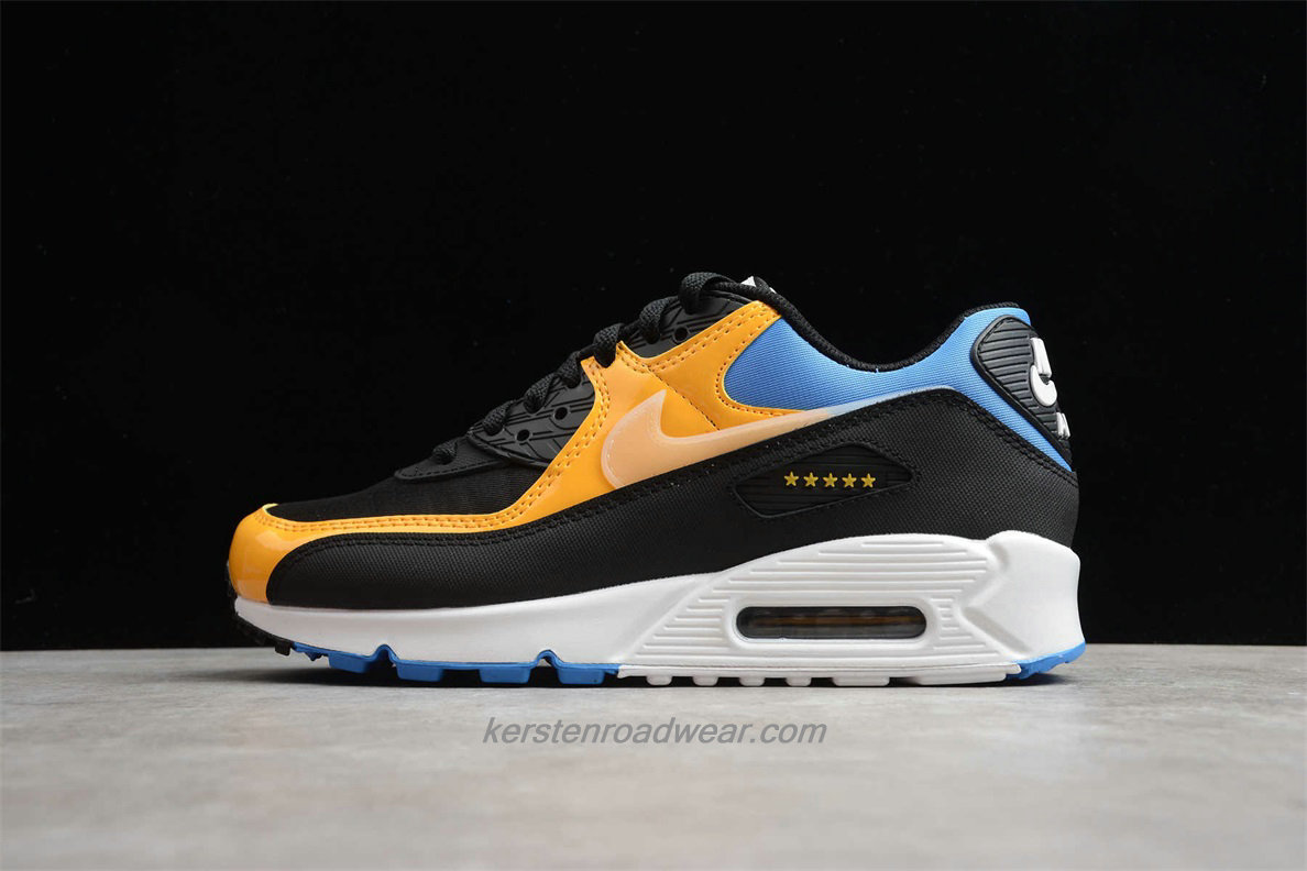2020 Nike Air Max 90 CT9140 001 Men's Black / Yellow / Blue Street Shoes