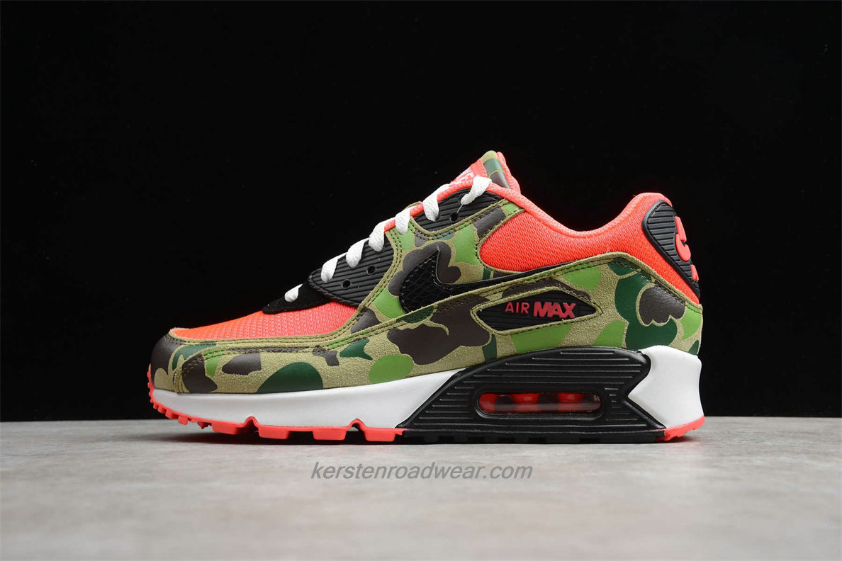 2020 Nike Air Max 90 CW6024 600 Men's Red / Black / Camouflage Street Shoes