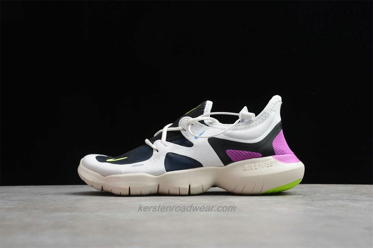 Nike Free RN 5.0 Lightweight AQ1289 100 Unisex Black / White / Purple Road Running Shoes