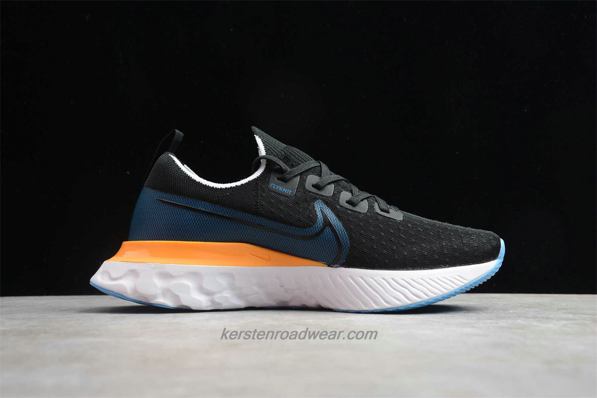 Nike React Infinity Run Flyknit CD4371 007 Men's Black / Blue / Yellow Running Shoes