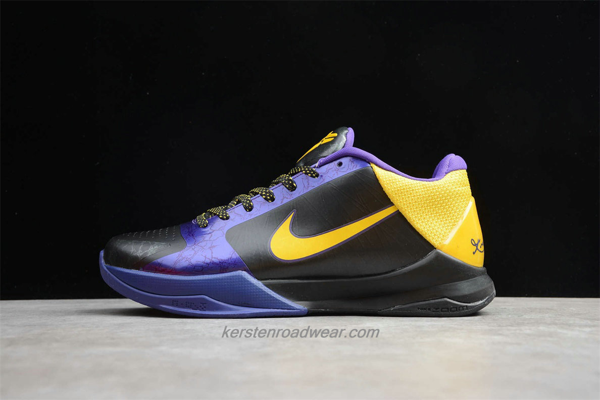 Nike Zoom Kobe V 386430 071 Men's Black / Purple / Yellow Shoes