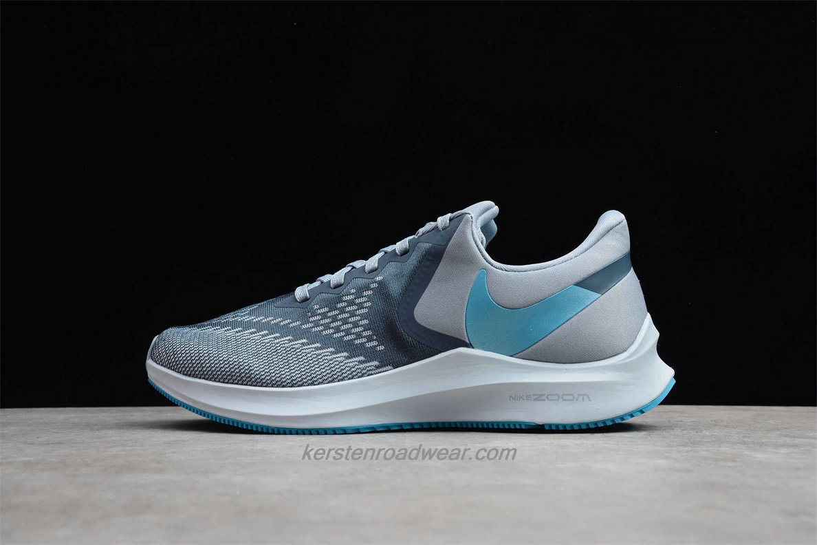 Nike Zoom Winflo 6 AQ7497 400 Men's Grey / Light Blue Road Running Shoes
