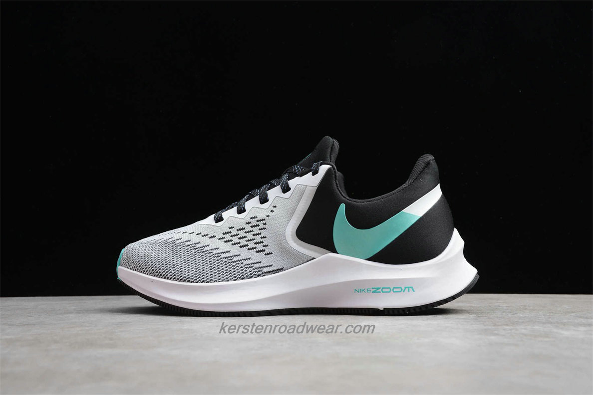 Nike Zoom Winflo 6 AQ8228 001 Women's Grey / Black / Green Road Running Shoes